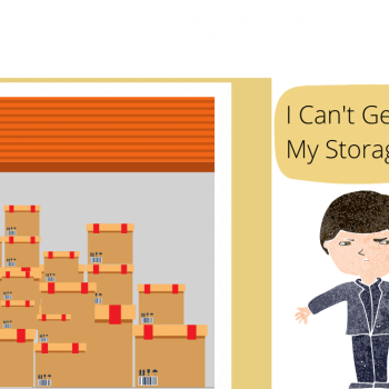 A man struggling to get into a self-storage unit